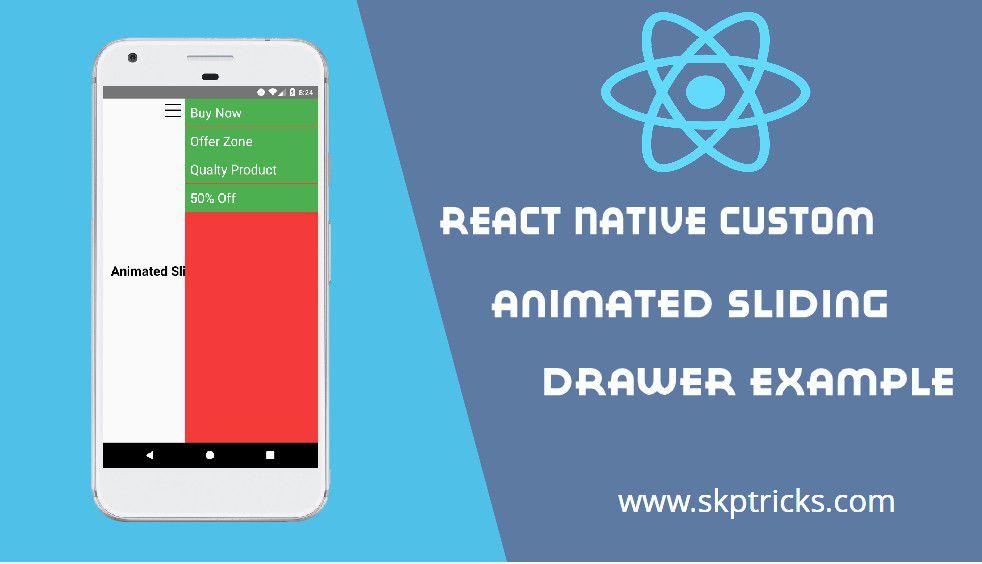 React Native Custom Animated Sliding Drawer Example | SKPTRICKS