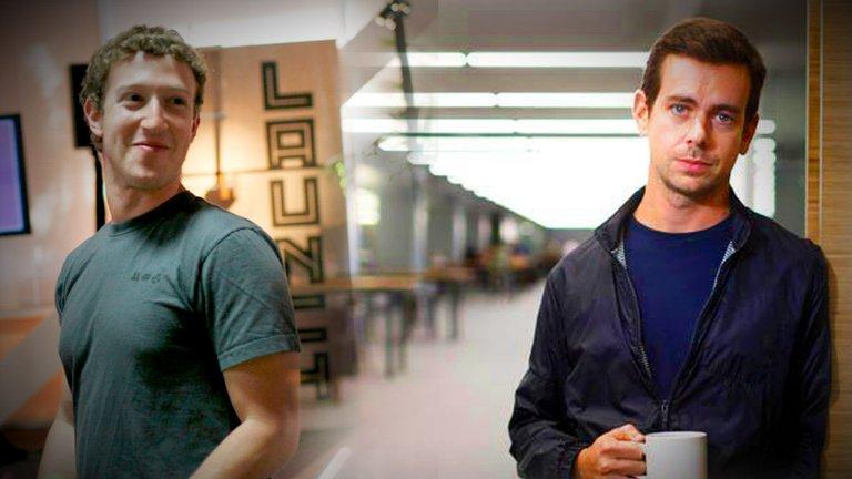Mark Zuckerberg (CEO de Facebook) y Jack Dorsey (CEO de Twitter) / EFE / INFOBAE
