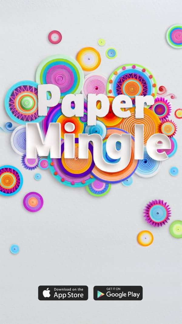 mobile game app image shows an array of colorful flat discs of coiled paper