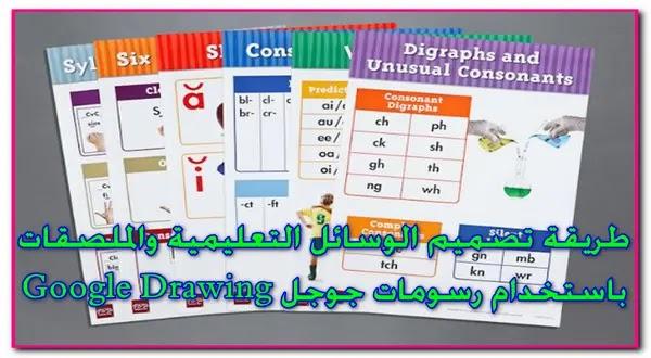 تعرف على طريقة تصميم الملصقات والوسائل التعليمية  باستخدام رسومات جوجل  Google Drawing