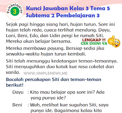 Kunci Jawaban Tematik Kelas 3 Tema 5 Subtema 2 Pembelajaran 3 www.simplenews.me