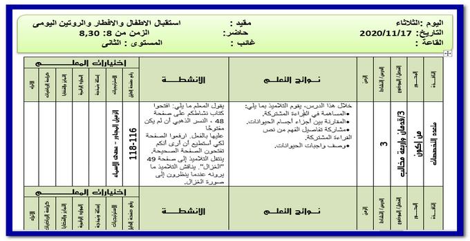 تحضير المستوي الثانى رياض اطفال ليوم الثلاثاء 17 نوفمبر