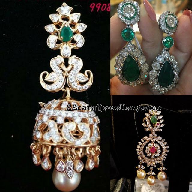 Diamond Jhumkas by Bhavani Jewellers