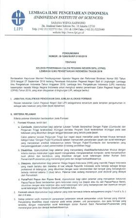 Informasi Penerimaan CPNS Lembaga Ilmu Pengetahuan Indonesia Tahun 2019