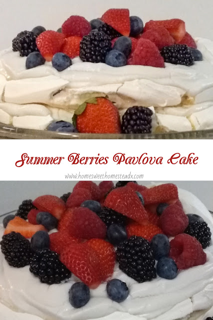 Summer Berries Pavlova Cake Home Sweet Homestead #SummerDessertWeek Crispy on the outside, marshmallow-y soft on the inside meringue, coconut whipped cream, and fresh summer berries come together to make a deliciously beautiful dessert, that couldn't be easier to make!