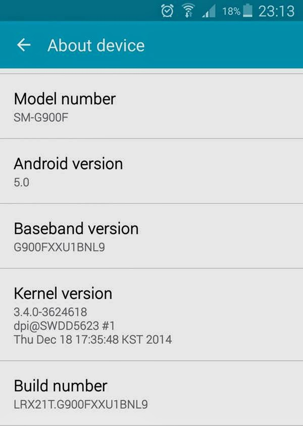 Galaxy s5 android lollipop LRX21T.G900FXXU1BNL9
