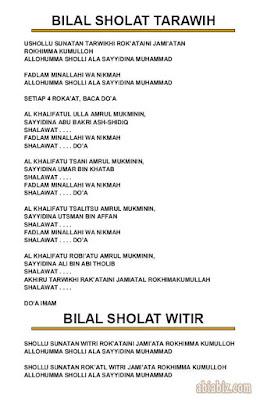 bilal sholat tarawih dan witir bahasa indonesia