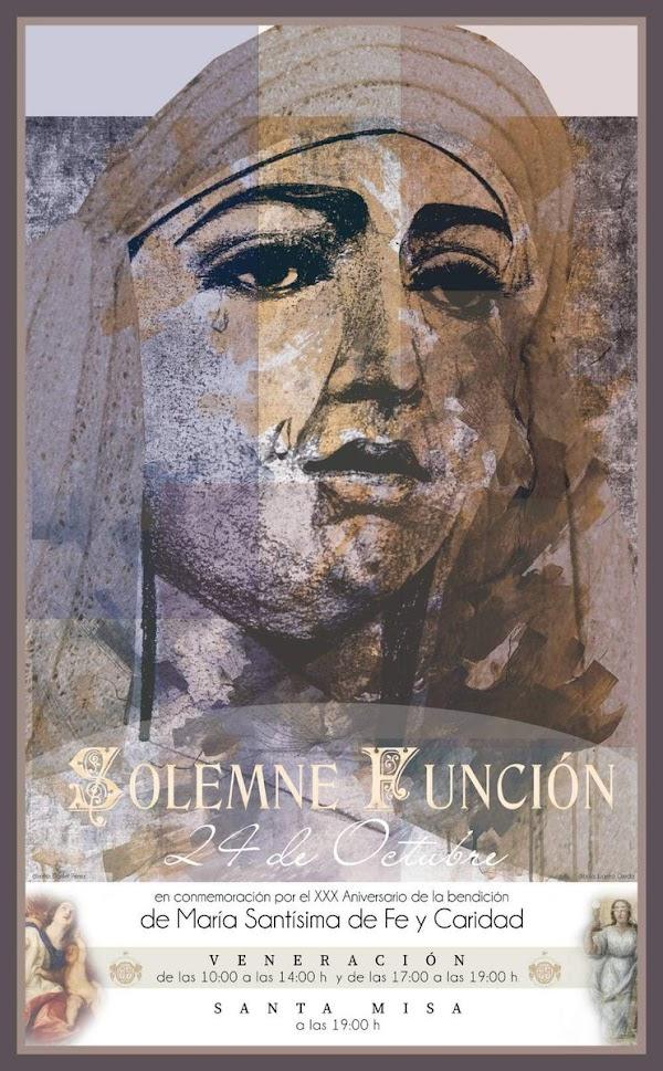 Cartel de XXX Aniversario de la bendición de María Santísima de la Fe y Caridad de Almería