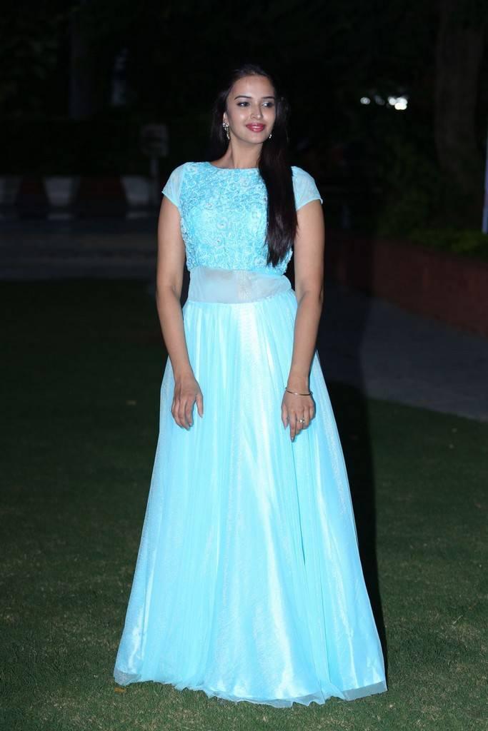 Telugu Actress Pujita At Darshakudu Pre Release In Blue Dress