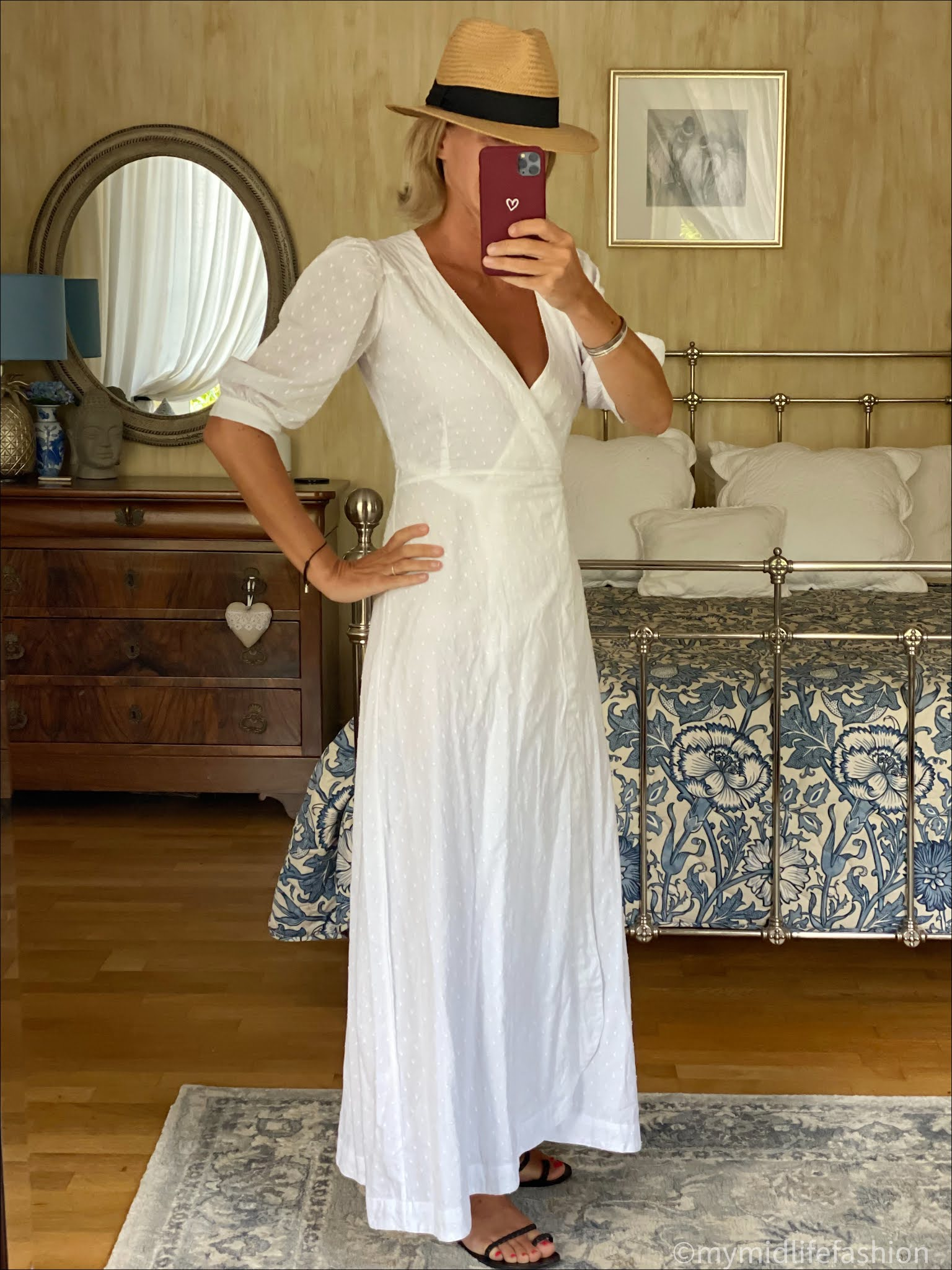 my midlife fashion, h and m Panama hat, seraphina dobby wrap maxi dress, Ancient Greek eleftheria braided woven sandals