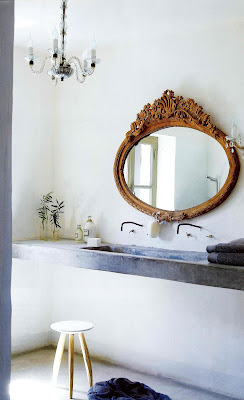 French style bathroom design floating concrete  sink with oval mirror