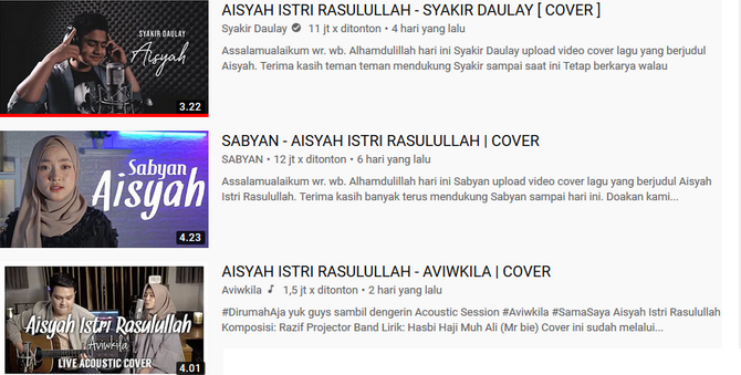 Trending YouTube Cover Lagu Aisyah Istri Rasulullah