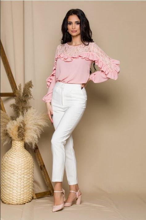 Bluza dama de zi si birou roz cu dantela si volanase