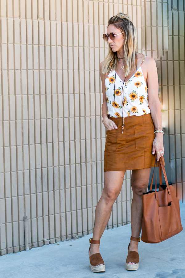 brown suede a line skirt sunflower top