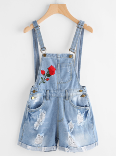 Rose Embroidered Destroyed Denim Dungaree Shorts