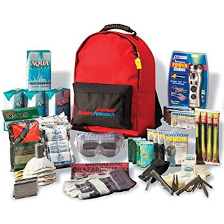 ack includes sufficient lifesaving supplies and more for family of four. Also includes: 4 survival blankets, 4 ponchos, first aid kit (107 pieces), leather work gloves, 4 goggles, 4 Noish N-95 dust masks, multifunctional tool with pliers, 12-hour emergency snap lights, emergency whistle, emergency communication plan, duct tape - 10 yards, and bio hazard bags. Be prepared for anything with Ready America's 3-day Deluxe Emergency Kit. Unique to the kit are an Emergency Power Station, 10 yards of duct tape and multifunction pocket tool with pliers.