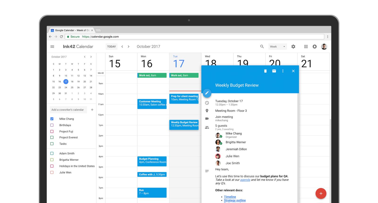Calendar Screenshot from Computer