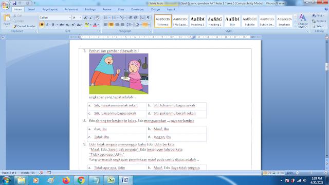 Soal Ukk Tema 5 Kelas 1 Dan Kunci Jawaban Kurikulum 2013