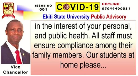 COVID-19: EKSU SETS UP COMMITTEE FOR CORONA VIRUS PANDEMIC
