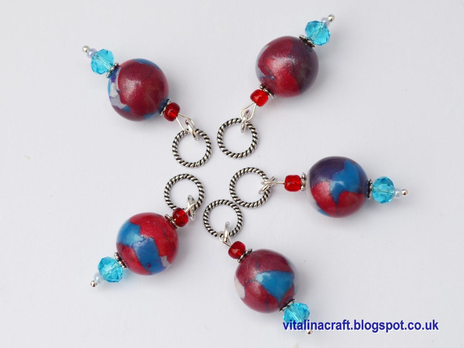 Knitting Markers Beads : Handmade fimo stitch markers and beads vitalina craft