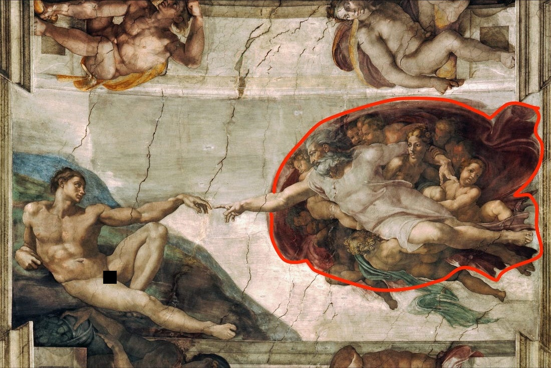 Creation of Adam, Michelangelo Painting, Fresco