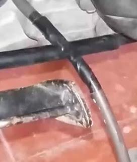 kabel coil yang putus digigit tikus