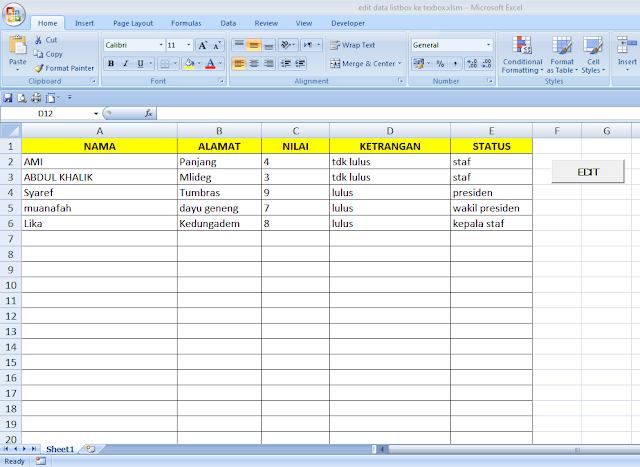 Cara Edit Data Pada Excel Menggunakan User Form Excel