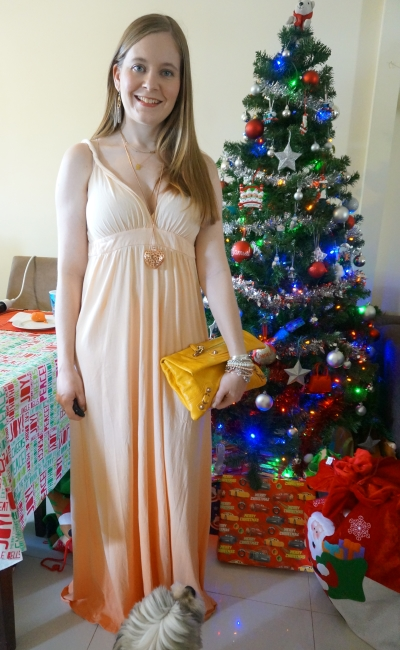 ombre peach gypsy 05 maxi dress rose gold accessories yellow Balenciaga clutch summer Christmas day outfit | awayfromblue