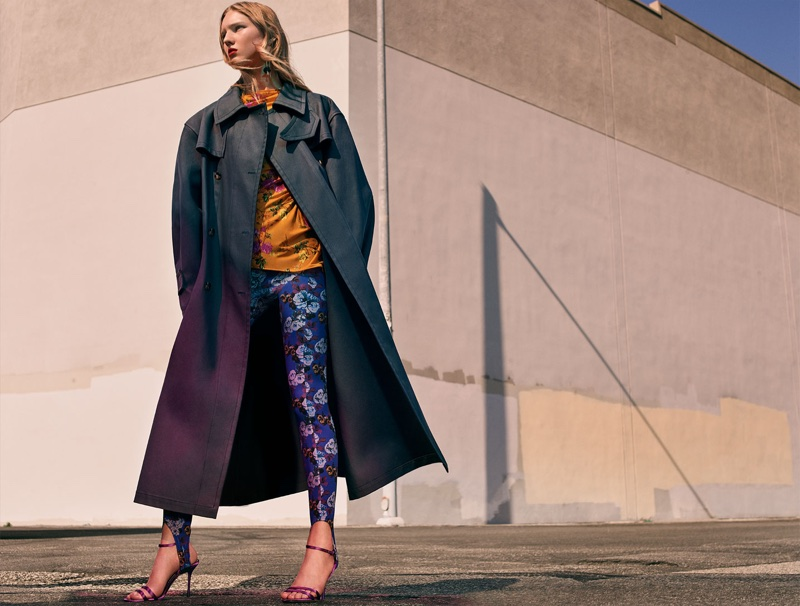 Zara Coat, Gathered Printed Top, Printed Leggings, Satin High Heel Sandals and Floral Earrings