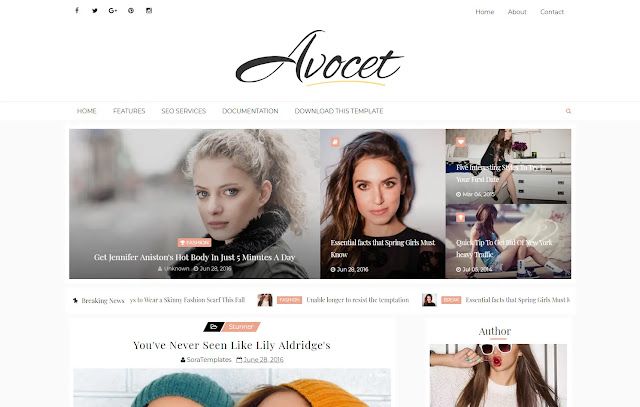 Avocet Responsive Personal Blog Girly Blog Fashions Diary Blog Lifestyle Blogger Template Theme