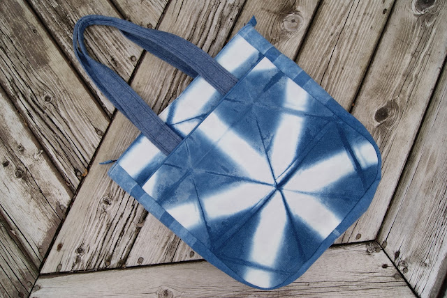 Indigo Shibori Super Tote nest full of eggs