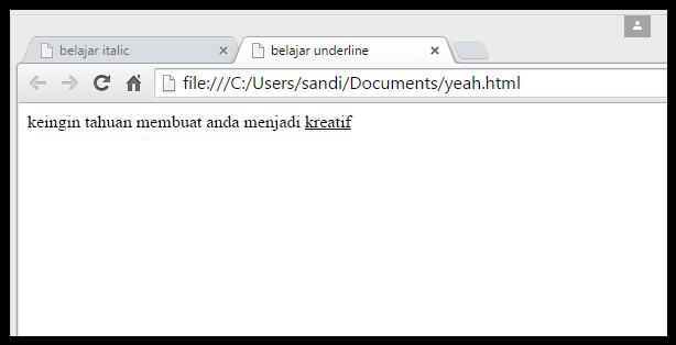 membuat garis baru atau underline pada text dengan tag <u> html
