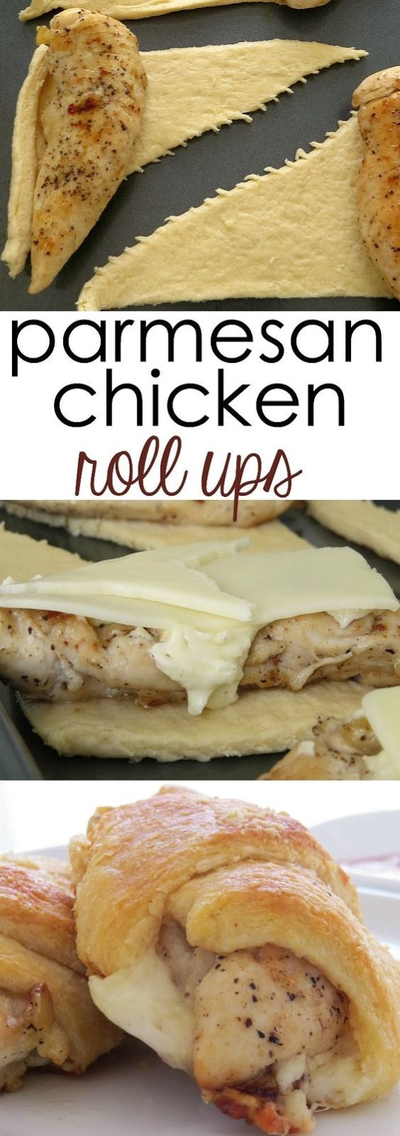 CHICKEN ROLL UPS CRESCENT ROLLS ARE FABULOUS! #parmesan #chicken #chickenrecipes #chickenrolls #dinner #quickdinner #dinnerrecipes