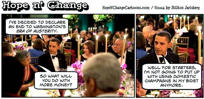 obama, obama jokes, cartoon, humor, funny, political, hope n' change, hope and change, stilton jarlsberg, conservative, tea party, budget, austerity, cutbacks, military, debt
