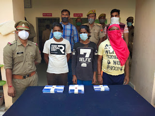 थाना नवाबाद पुलिस द्वारा मोबाइल लुटेरो/चोरो के अन्तरजनपदीय गैंग का पर्दाफास कर 13 मोबाइल फोन के साथ गिरफ्तार किया
