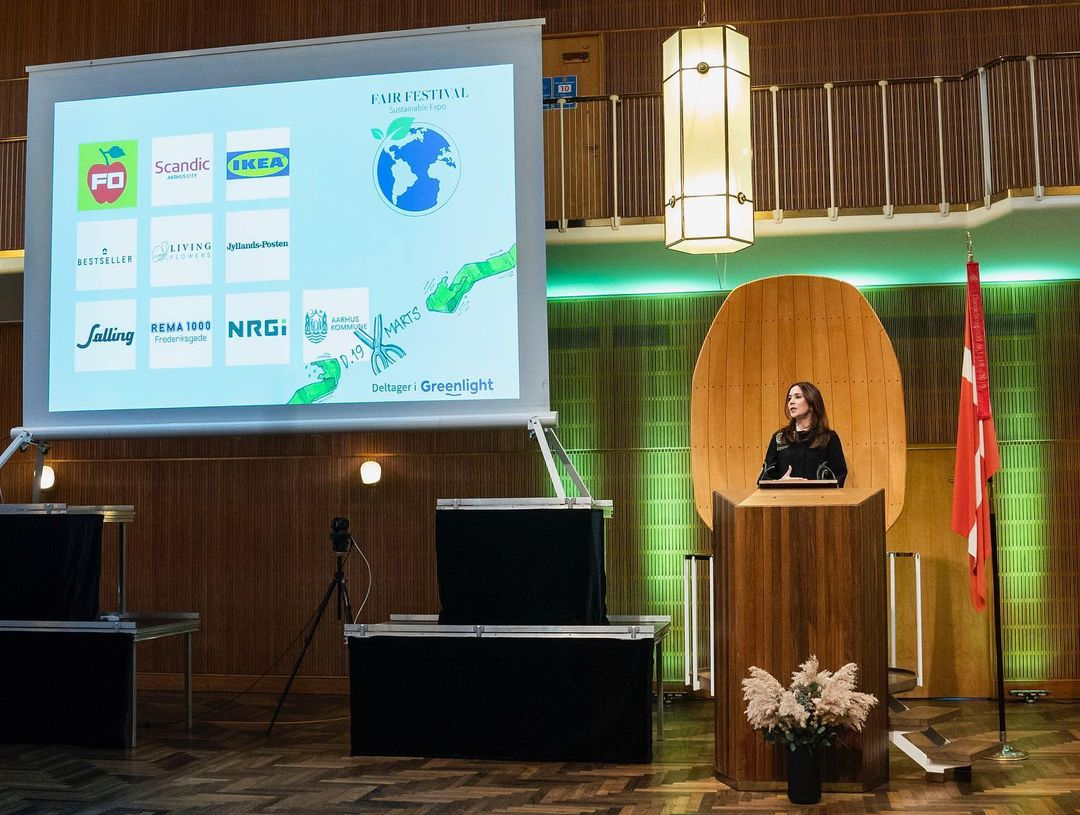 """Crown Princess Mary of Denmark opened Denmark's largest digital fair and festival for sustainable products """"Fair Festival"""" at Aarhus City Hall."""