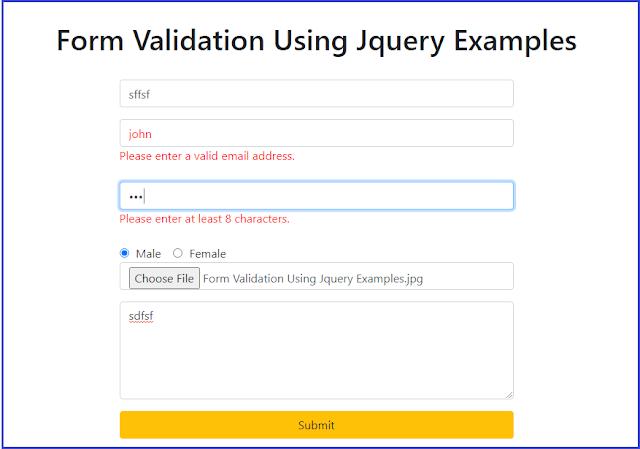 Form Validation Using Jquery