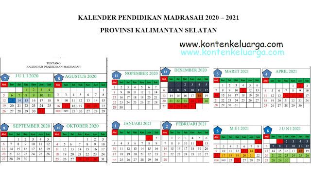 Download Kalender Pendidikan 2020/2021 untuk Madrasah Prov Kalimantan Selatan