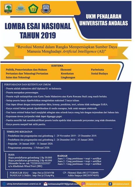 Lomba Esai Nasional Andalas Penalaran Fair 2020