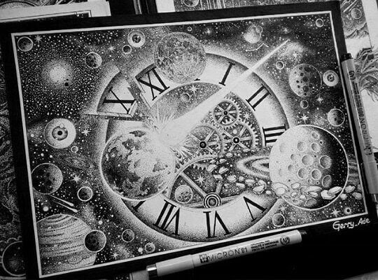 02-The-Universe-and-Time-G-A-Yuangga-Fineliner-Stippling-Drawings-www-designstack-co