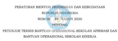 Peraturan Menteri Pendidikan dan Kebudayaan Nomor 24 Tahun 2020