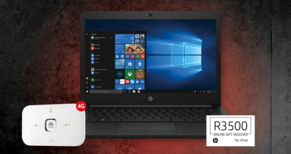 HP14 AMD laptop + Huawei R218 Mobile Wi-Fi router + R3500 HP Online Gift Voucher – R199pm x 36