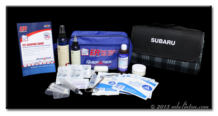 Pet First Aid kit contents and emergency blanket