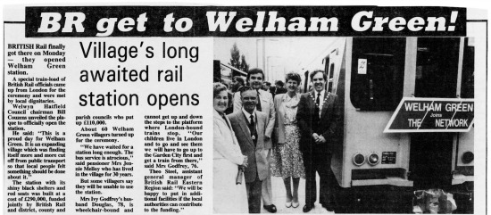 Scanned image of a newspaper cutting of a report covering the opening of Welham Green station 1986. Image by Mike Allen