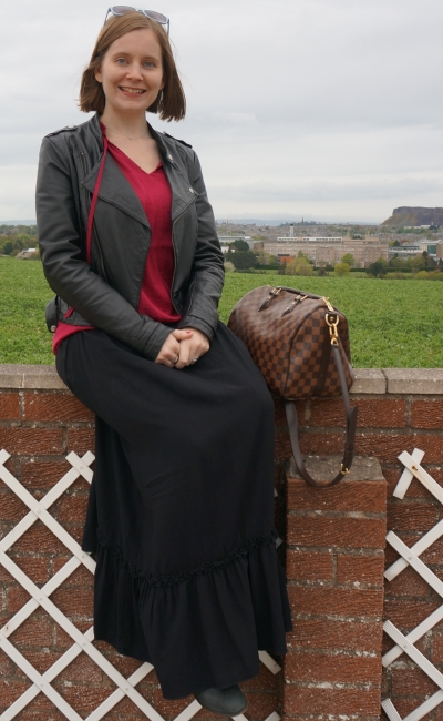 Maxi skirt in winter with leather jacket berry blouse and ankle boots | away from blue
