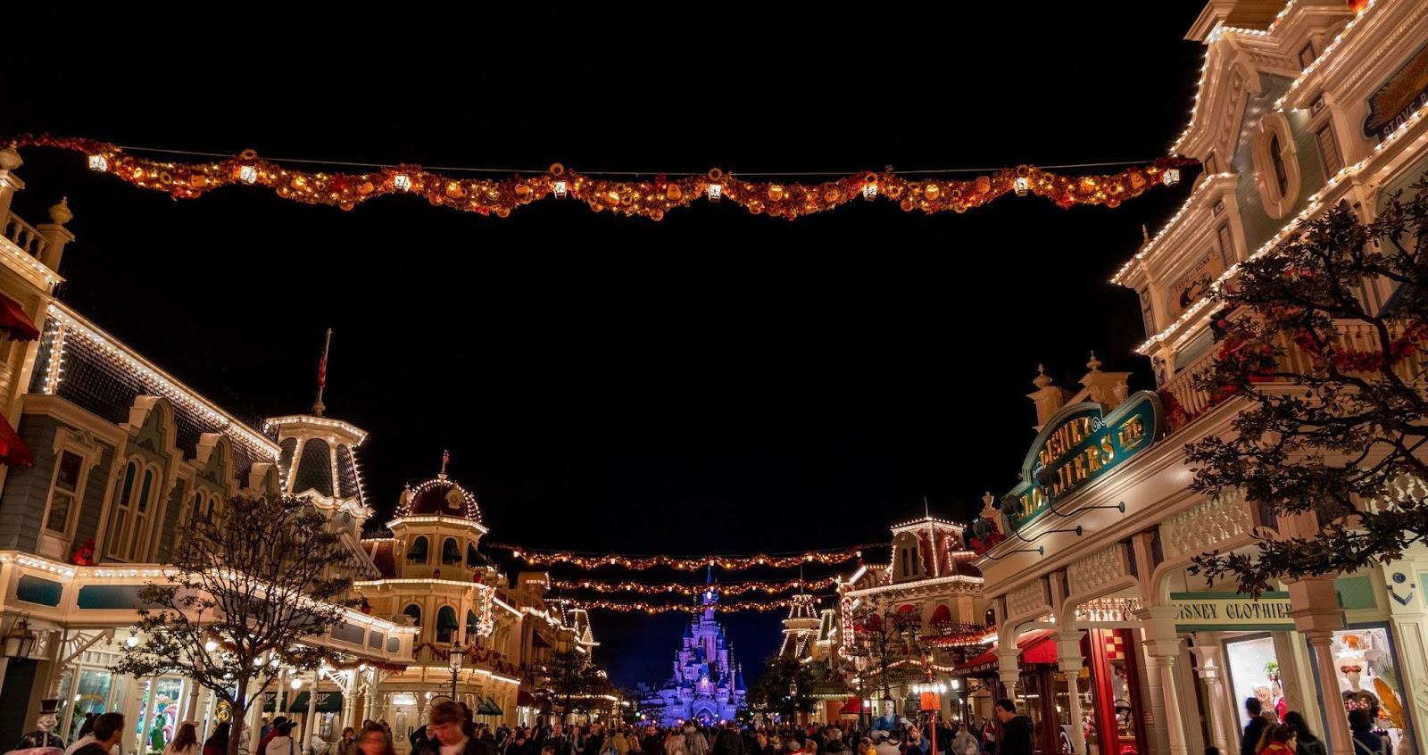 Main Street at night during Halloween season, Disneyland Paris