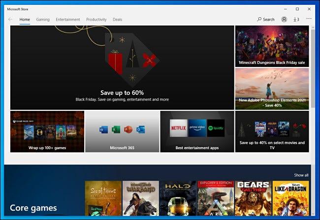 مثال على الشاشة الرئيسية في متجر Microsoft لنظام التشغيل Windows 10.