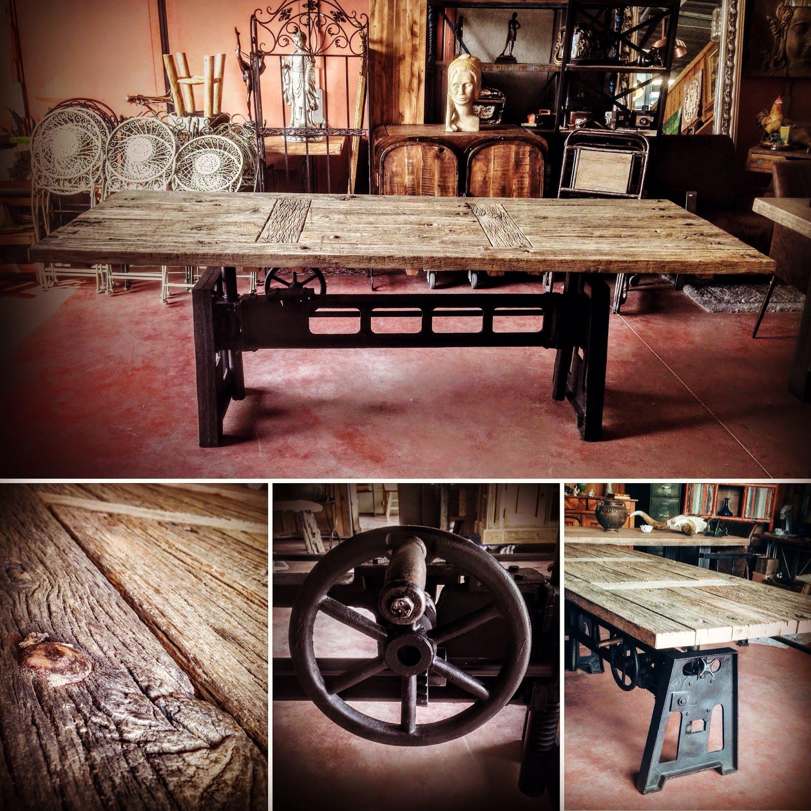 vitadeco table bois m tal design industriel table. Black Bedroom Furniture Sets. Home Design Ideas