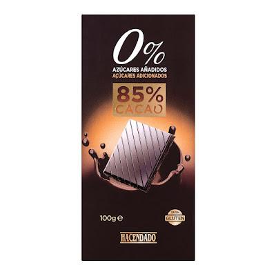 Chocolate negro extrafino 85% de cacao 0% azúcares añadidos Hacendado