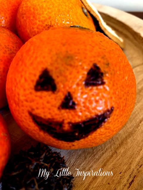 Centrotavola per Halloween con Mandarini - faccina 1 senza denti - MLI